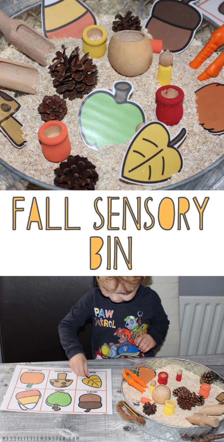 Fall sensory bin ideas. Autumn sensory bin for toddlers and preschoolers.