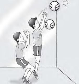 Latihan passing dengan bantuan dinding.
