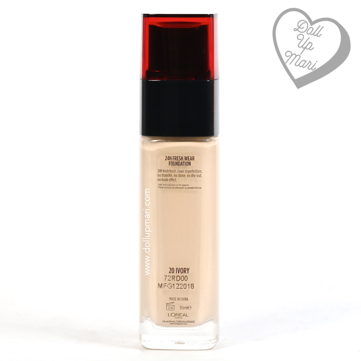 Bottle rear of L'Oréal Paris Infallible 24HR Fresh Wear Liquid Foundation SPF25PA+++ in shade Ivory