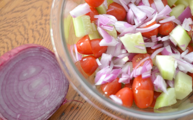 side dishes for pizza night, pizza side dishes, fresh salad recipes, Avocado, Tomato and Cucumber Salad Recipe, avocado salad recipes, easy salad recipes, cold side dishes