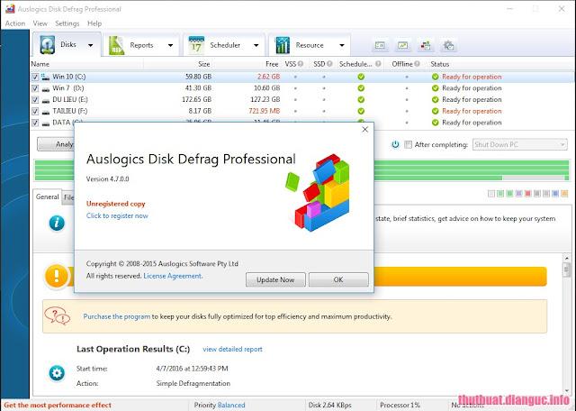 Download Auslogics Disk Defrag Professional 4.7.0 full Keygen