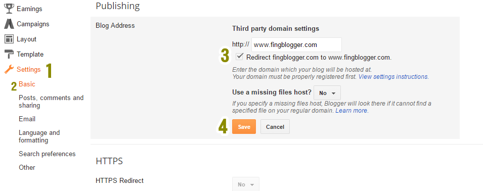 without www set blogger domain