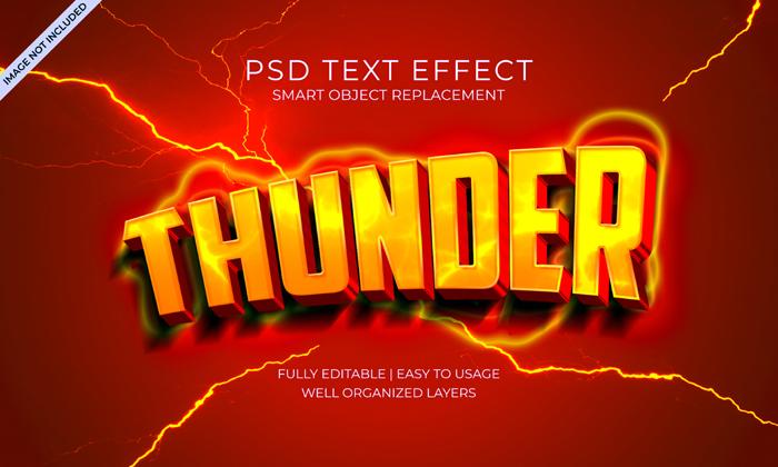 Thunder Lightning Glow Text Effect Psd Template