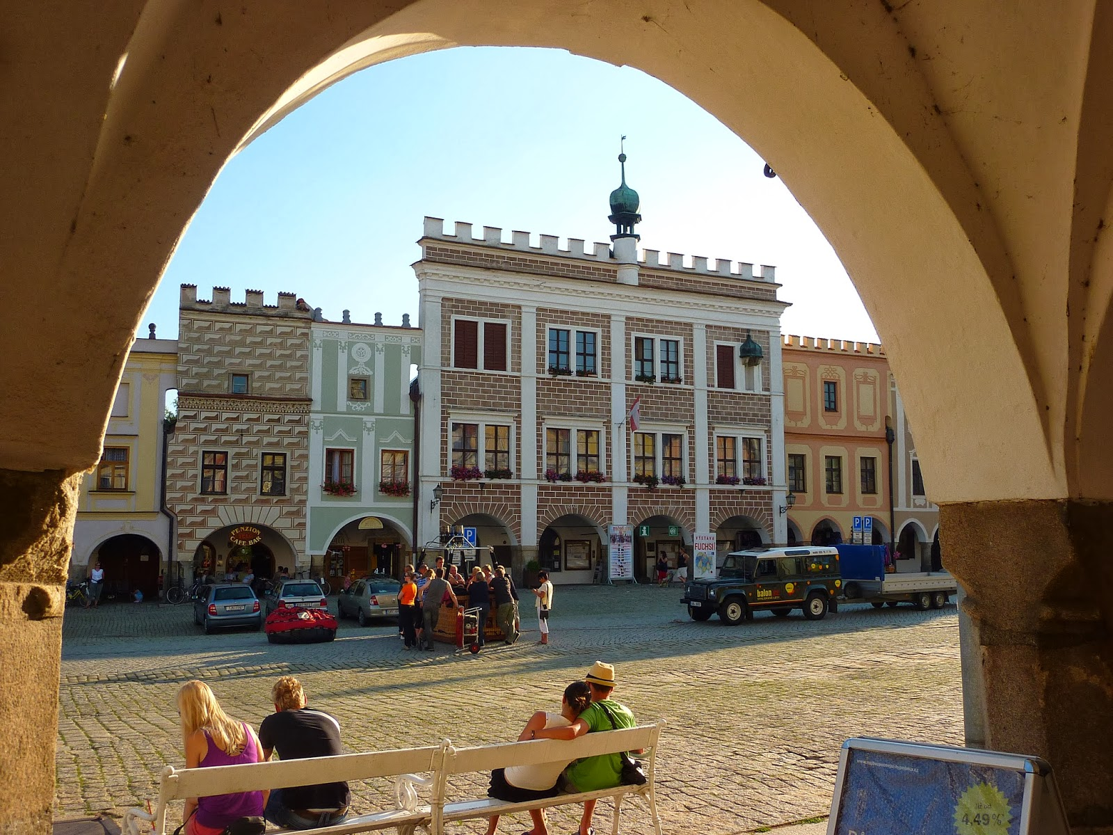 Old town plaza in Telc, Czech Republic