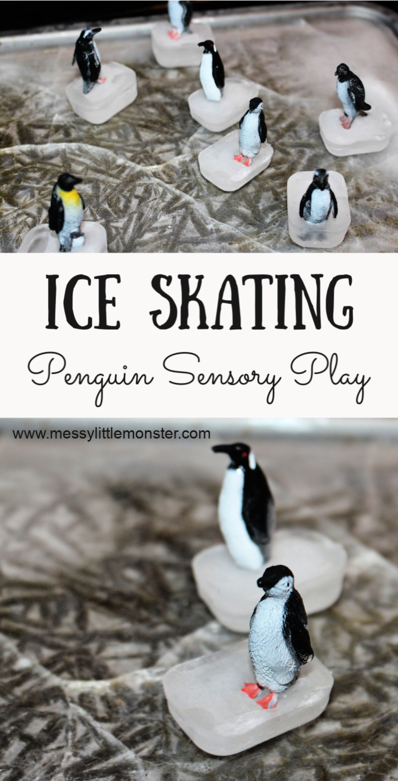 Sensory play for toddlers and preschoolers. Create an ice skating penguin small world by making a diy ice rink. If you are looking for melting experiements for toddlers or fun winter activities this penguin sensory play activity is perfect!