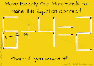 Answer of Simple Matchstick Math Riddle