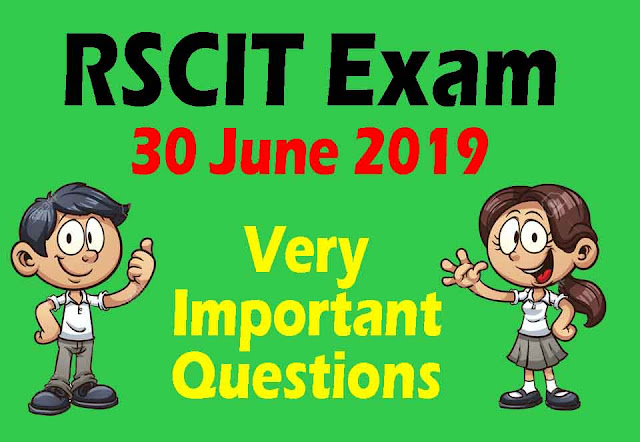 RSCIT EXAM 30 JUNE 2019 Online Test Part- 1 in Hindi With Answer & With Video Mock Test