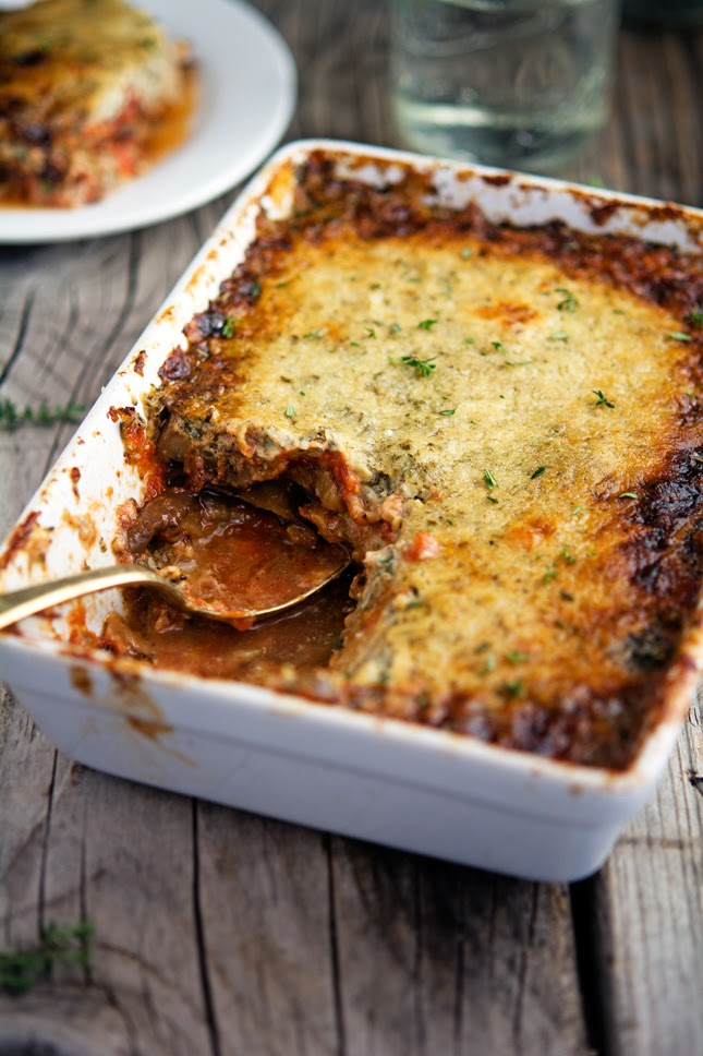 Eggplant Gratin with Tomato, Herbs and Creme Fraiche