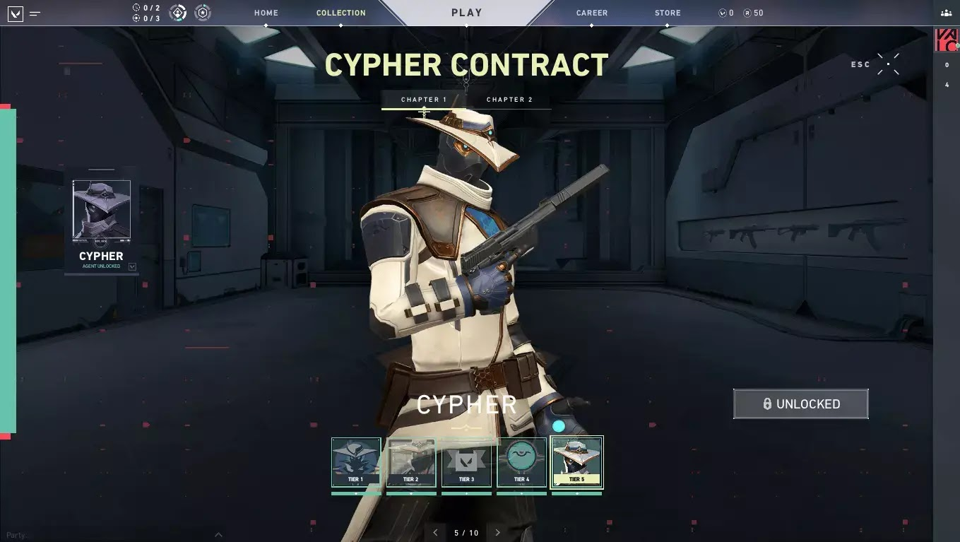 Menu Select Agent Cypher - Valorant