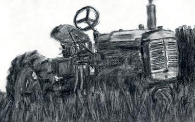 charcoal sketch vintage farm tractor Farmall