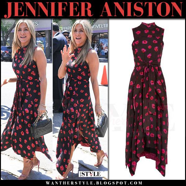 Jennifer Aniston in black flower print sleeveless dress proenza schouler and velvet aquazzura sandals july 26 2017 celebrity style