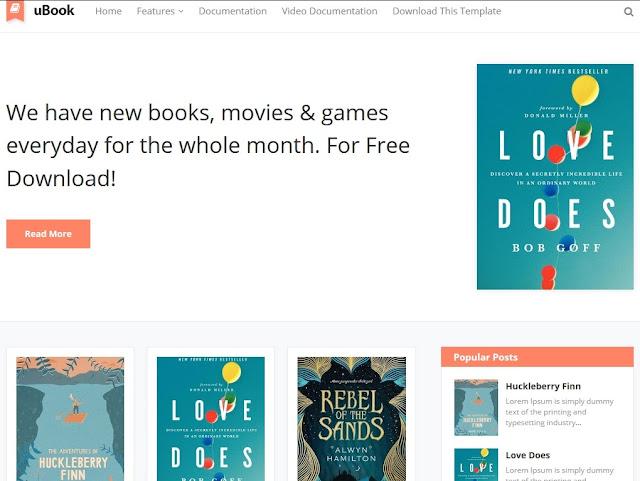 3- قالب uBook لمدونات بلوجر لنشر الكتب
