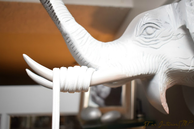 Elephant wall art used as fixture to suspend Edison bulb pendant lighting