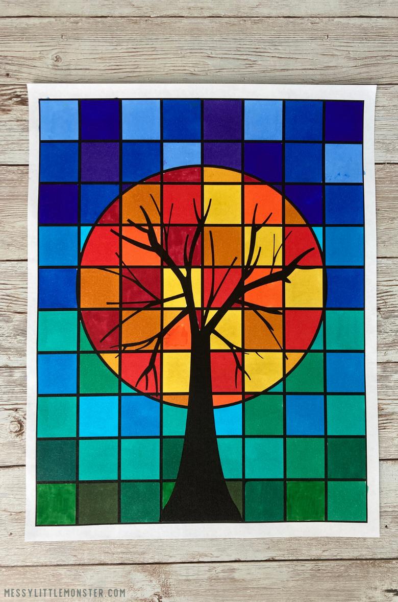warm colors tree art project