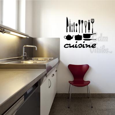 Vinilo decorativo cocina cuisine utensilios w13 cdm for Vinilos pared cocina