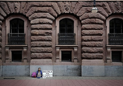 Greta Thunberg's first school strike for Climate, outside the Swedish Parliament, August 20, 2018