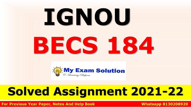 BECS 184 Solved Assignment 2021-22