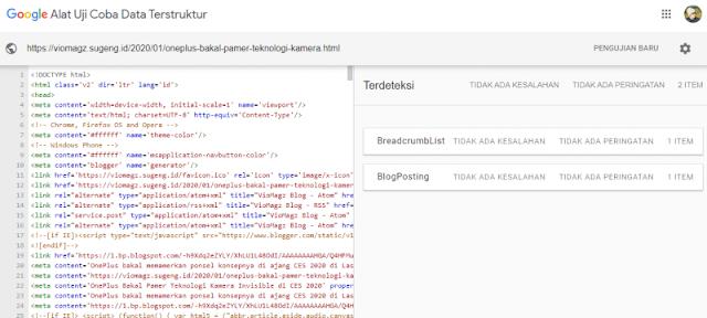 Vio Magz - Hasil tes Google Data Terstruktur