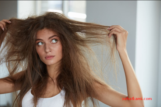 rambut kering mengembang