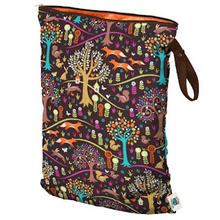 planetwise wet bag with fox and trees print