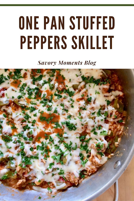 Finished one pan stuffed peppers skillet.