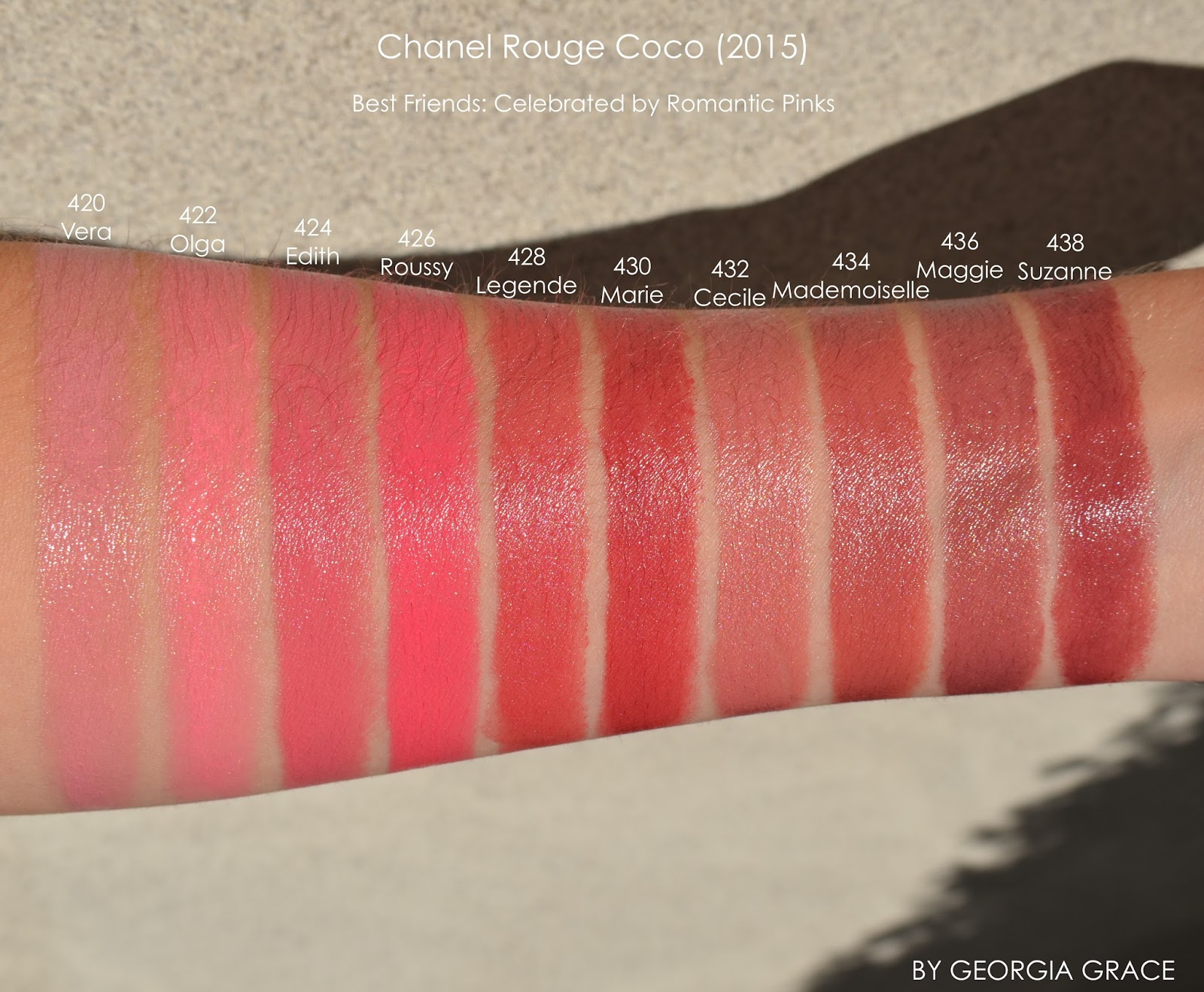 Chanel Rouge Coco Swatches Of All Shades By Georgia Grace