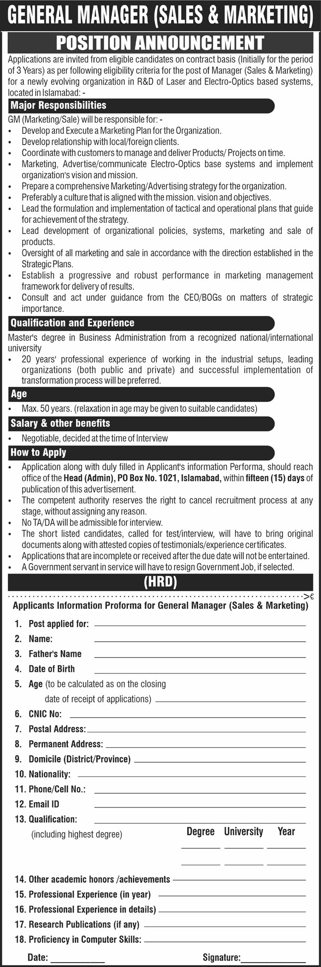 Organization in R&D of Laser and Electro Optics Based Systems PO Box 1021 Islamabad Jobs 2021 in Pakistan