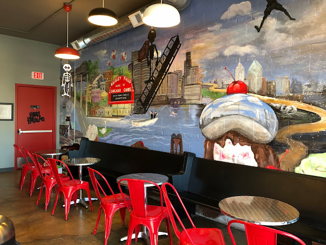 Love, love, love the Chicago mural at Chicago Mike's Ice Cream Co. in Highwood, Illinois
