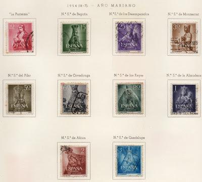 Serie de sellos del Año Mariano 1954