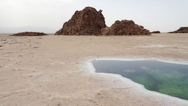 Small salt mountain before getting to Lake Asale