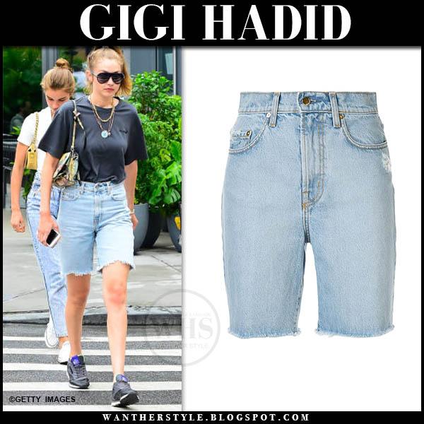 Gigi Hadid in black tee and denim shorts nobody denim tyler. Celebrity street style august 14