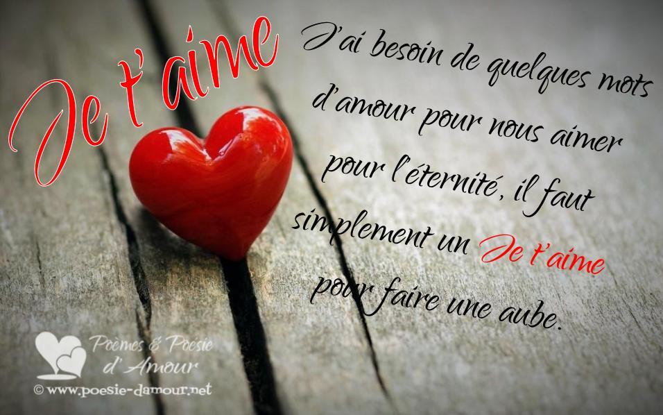 Cœur d'amour et texte je t'aime : J'ai besoin de quelques mots d'amour