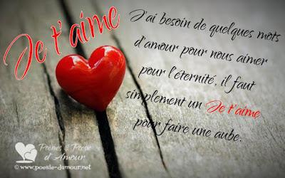 Image d'un coeur d'amour  avec texte T'aime : J'ai besoin de quelques mots d'amour ...