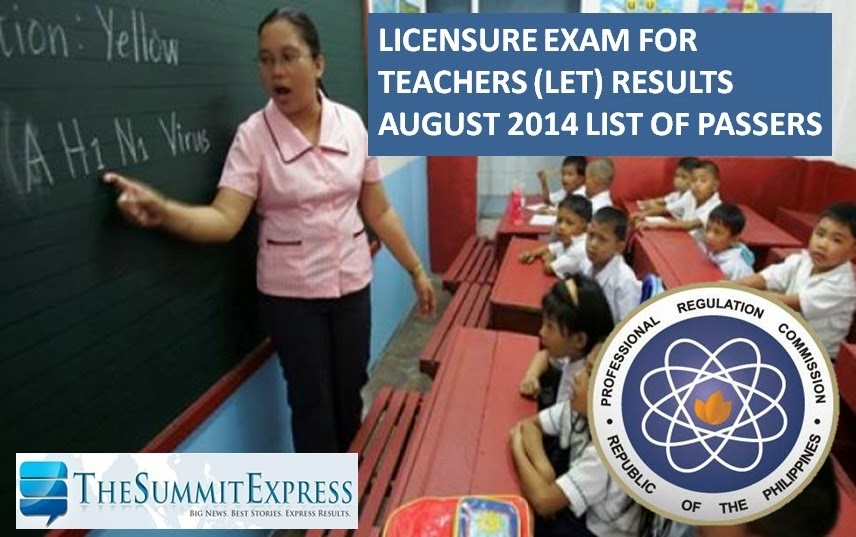 LET Exam Results August 2014 teachers board exam
