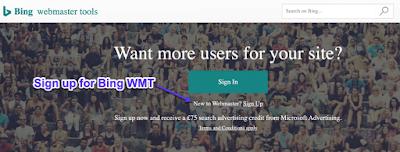 Daftar halaman untuk Alat Webmaster Bing
