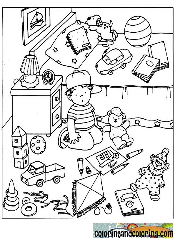 Messy Kids Room Drawing Bedroom Coloring Pages Page Sketch