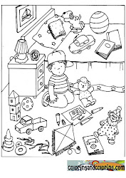 Kids bedroom coloring pages