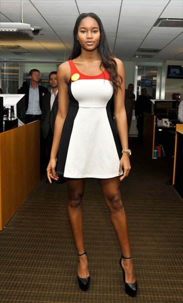 damaris lewis most beautiful black woman short dress stilettos
