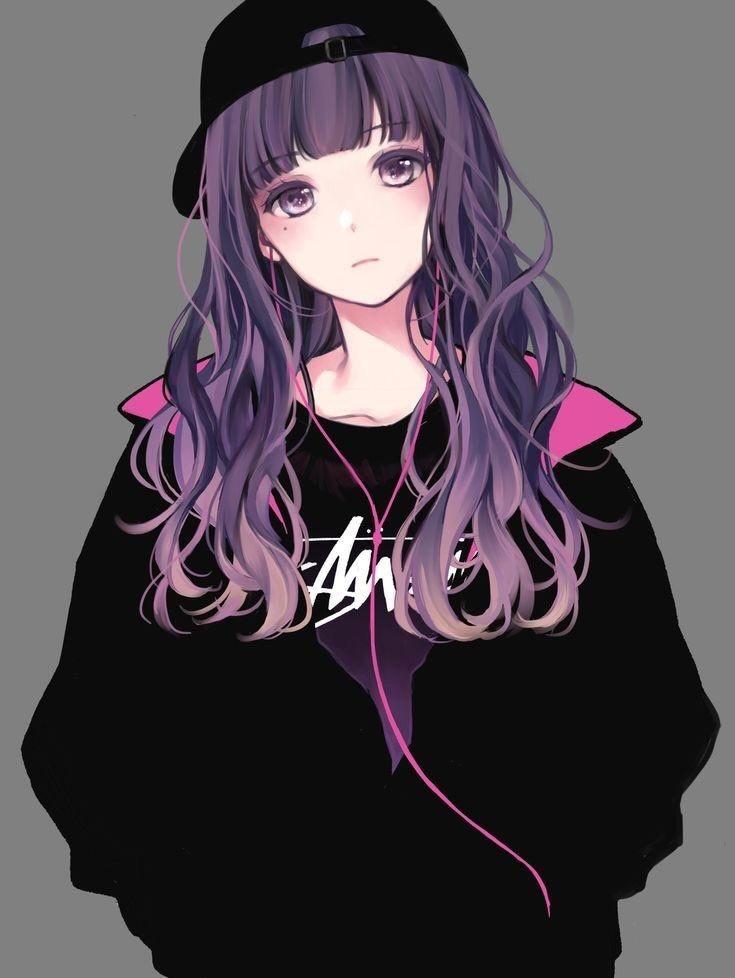 purple anime girl