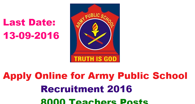 Army Public School Recruitment 2016, 8000 Teachers Posts Apply Online – (13-09-2016)|Army Public School Recruitment 2016, 8000 Teachers Posts, Apply Online, Notification Details, Call Letter, Admit Card, Result are available at www.aps-csb.in/2016/08/army-public-school-recruitment-2016-teacherposts-apply-online-call-letter-admitcard-result-www-aps-csb-in.html