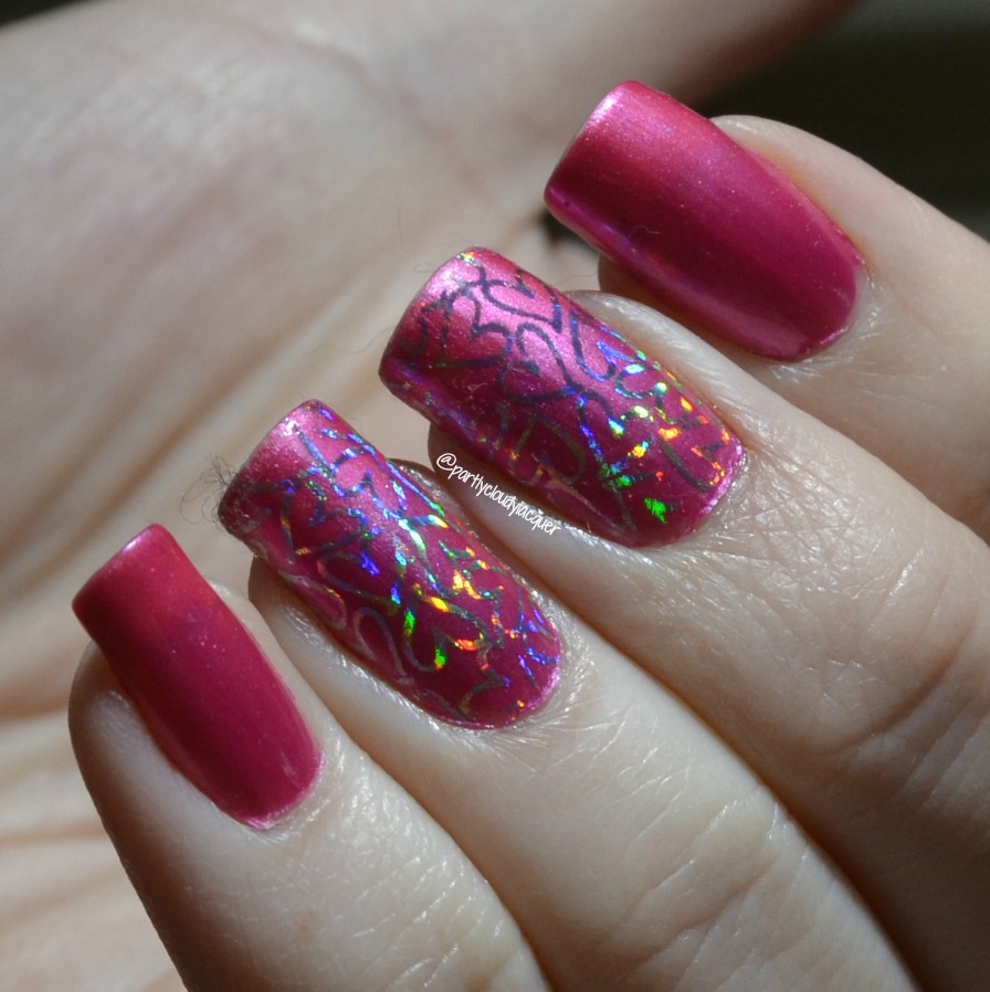 Valentine\'s Day Nail Art Using Nail Foils | Partly Cloudy With a ...