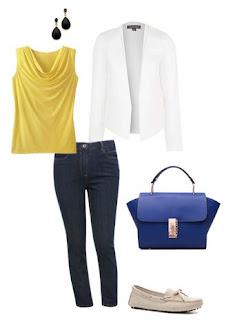 look profissional informal - blazer branco, calças de ganga, mocassins brancos, top amarelo, mala azul
