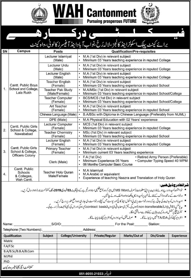 Advertisement for Wah Cantonment Jobs 2019