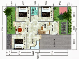 Contoh Denah Rumah Sederhana Sehat