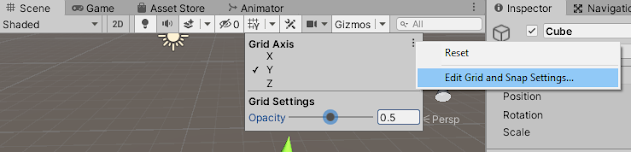 opening drid and snap setting from unity editor scene view