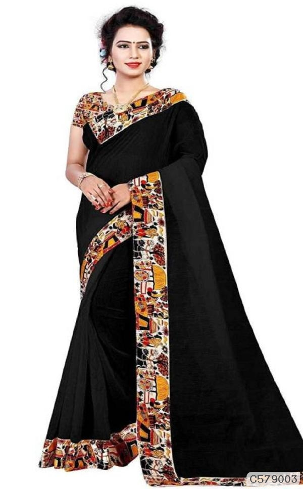 Attractive Chanderi Cotton Lace Border Regular Sarees .