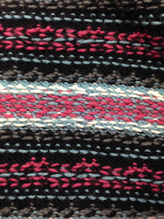 Inside Fair isle knitting - 1940s pattern in teal, pink, grey, black and white