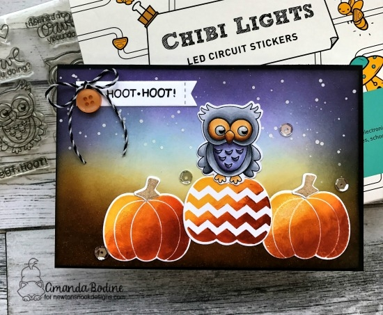Light up Owl Halloween card by Amanda Bodine | Pick-a-Pumpkin and What a Hoot Stamp sets by Newton's Nook Designs with Chibitronics lights | #newtonsnook #chibitronics