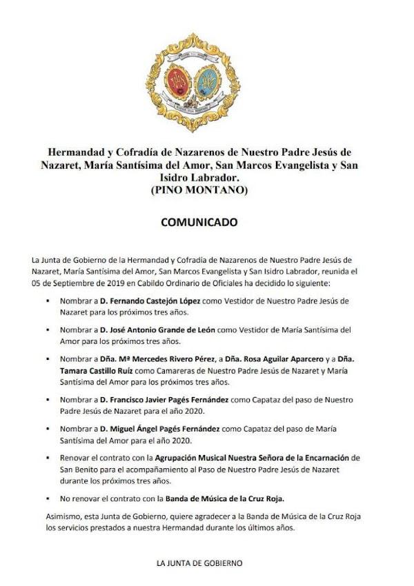 La Hermandad de Pino Montano ha decidido NO renovar a la Banda de Música de la Cruz Roja