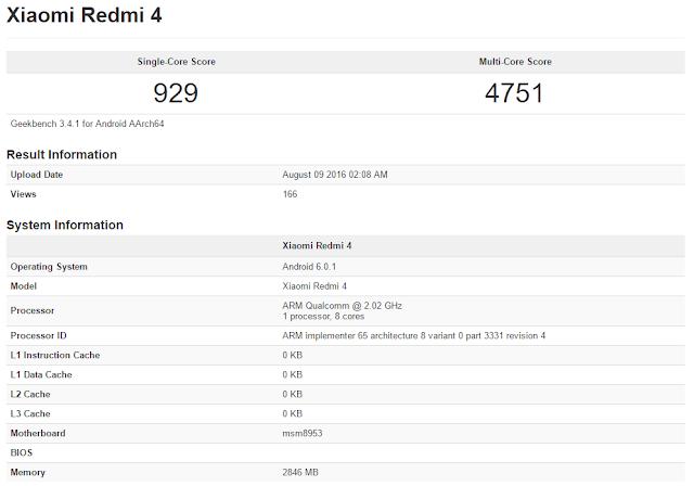 Xiaomi redmi 4 muncul di situs GeekBench, dibekali chip Snapdragon 625 dan RAM 3GB